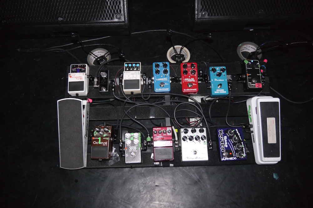 Bryan Beller 2015 pedalboard for the Joe Satriani world tour