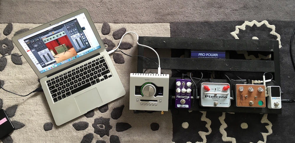 Rig for the review using the Apollo Twin as the interface for amp simulation