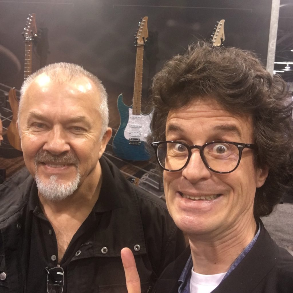 John Suhr with (a very happy) Pierre Journel - NAMM 2018 - The Guitar Channel