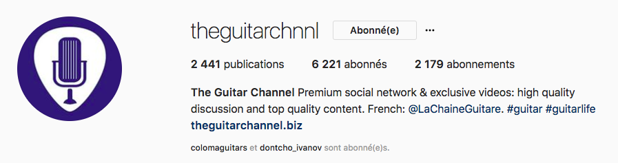 The Guitar Channel Instagram account