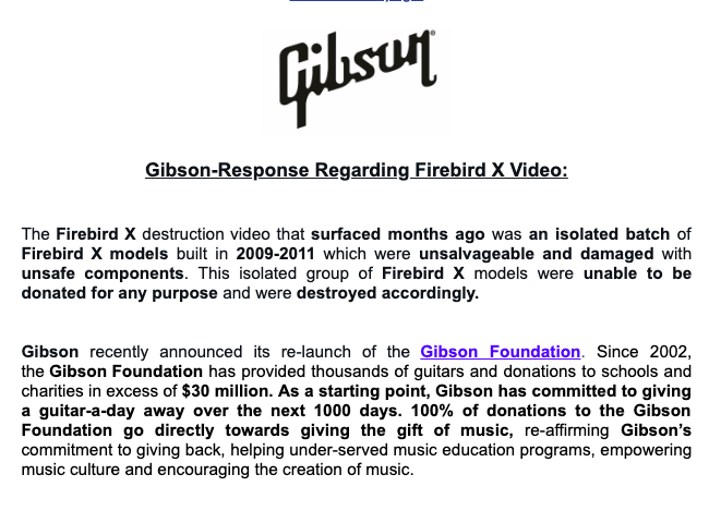 When Gibson destroys hundreds of Firebird X guitars: analysis of a buzz
