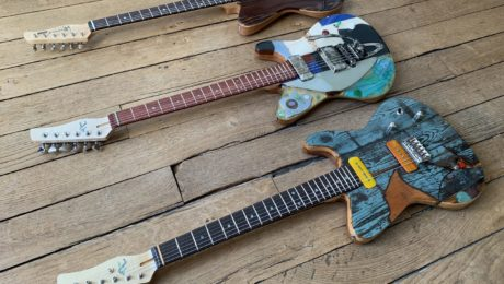 Featured in the showroom: 3 Spalt Instruments guitars by luthier Michael Spalt