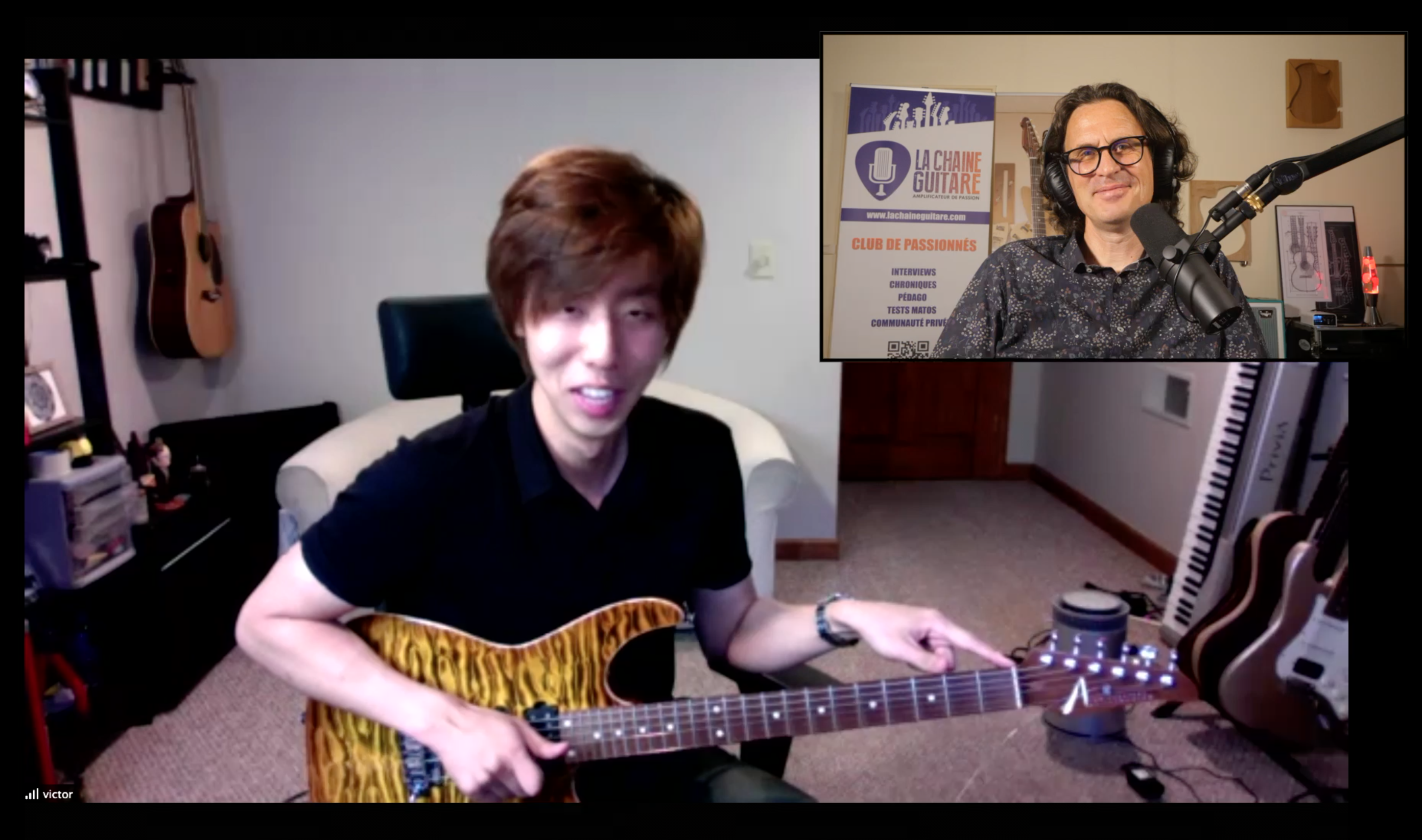 Victor Lee guitar in hand interview with the Korean born American musician